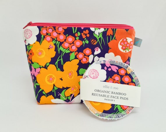 GIFT SET:  Bright Floral Cosmetic bag + Pack of 4 reusable face wipes