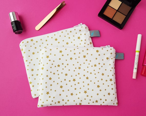 Metallic Gold Star Cosmetic Pouch
