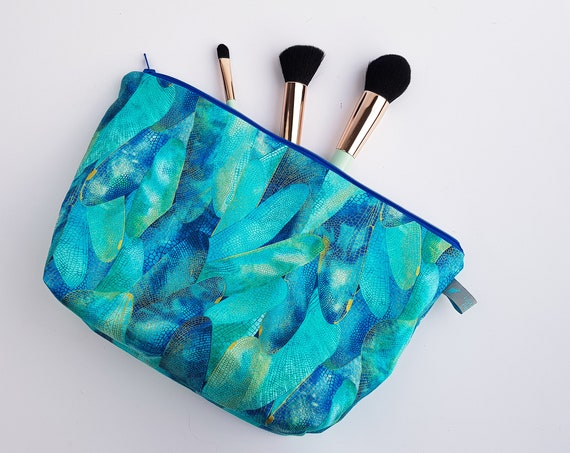 Dragonfly Metallic Leaf Cosmetic Bag / Makeup Bag