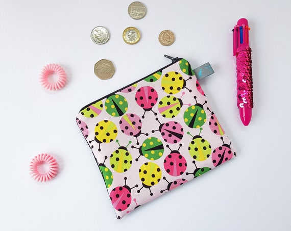 Pink Ladybird Design makeup pouch / cosmetic pouch / coin purse