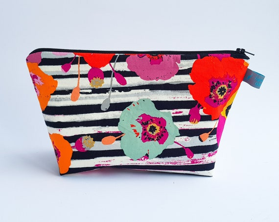 Vibrant Floral and Striped Cosmetic Bag / Makeup Bag