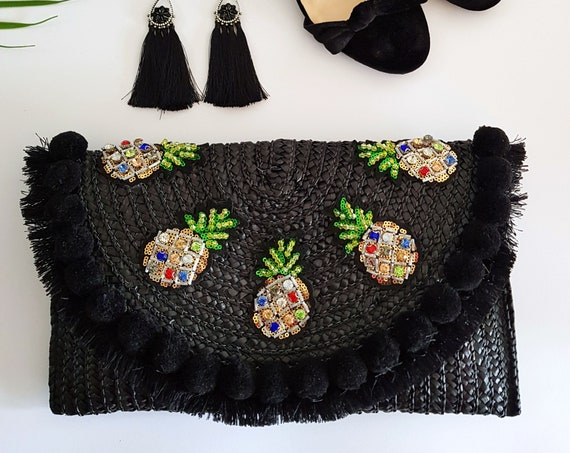 Black Straw Pineapple Clutch Bag