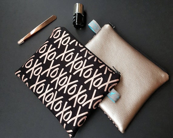 Rose Gold Metallic Cosmetic Pouch in XOXO design
