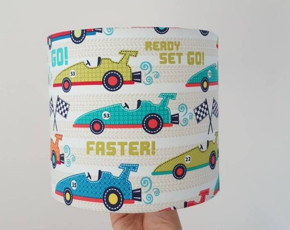 Race Car Drum Lampshade 20cm diameter Bedside Lamp