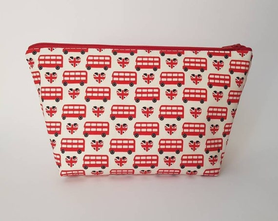 London Bus Wash Bag / Toiletry Bag with waterproof lining * PRE-ORDER *