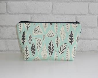 Leaf print makeup bag / cosmetic bag, with waterproof lining