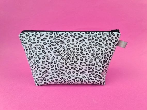 Black & Grey Animal Print Cosmetic Bag / Makeup Bag / Wet Bag