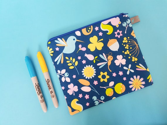 Pencil Case / Cosmetic Pouch / Birds and Flowers