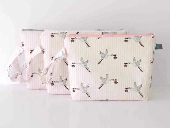 Nappy Pouch / Diaper Bag in Oxford Linen Stork Design