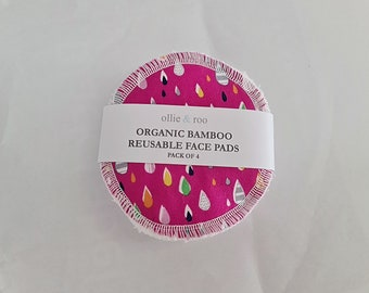 Pink Raindrop Reusable Face Wipes (4 PACK)