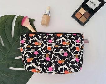 Black Leaf Cosmetic Bag / Makeup Bag