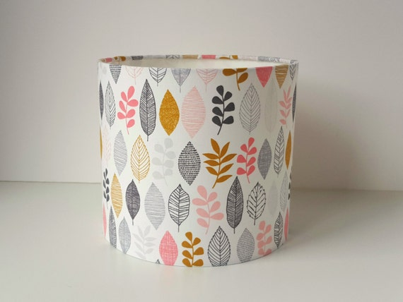 Leaf Print Lampshade in grey and pink design