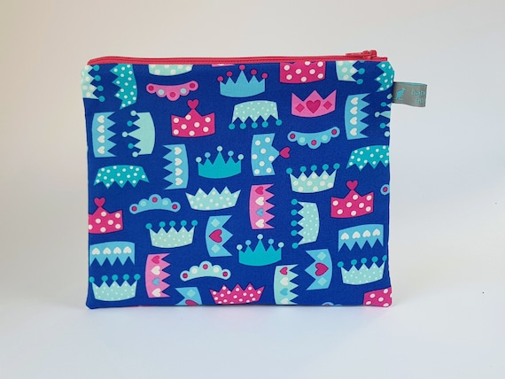 Princess Tiara & Crown Pencil Case / Cosmetic Pouch with cotton lining