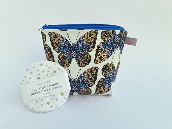 GIFT SET:  Butterfly Cosmetic bag + Pack of 4 reusable face wipes