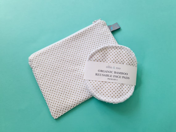 GIFT SET: Metallic gold dot cosmetic pouch and 4 reusable face wipes