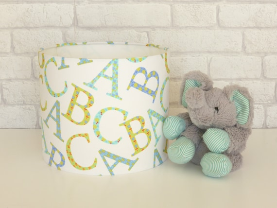 Alphabet 'ABC' Nursery tabe lampshade in blue, green & aqua tones - 25cm diameter