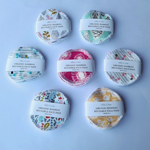 4 PACK - Reusable Face Wipes / Reusable Cotton Rounds / Reusable Face Pads / Face Scrubbies
