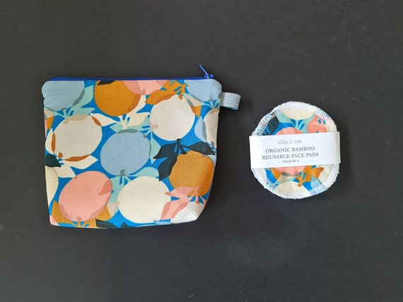 GIFT SET:  Blue Clementine Cosmetic bag + Pack of 4 reusable face wipes