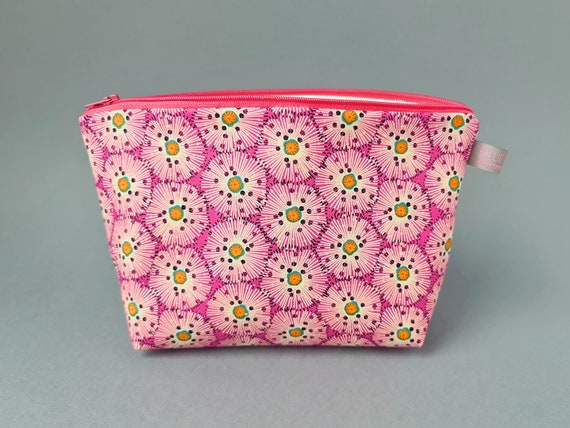 Pink Floral Burst Sized Cosmetic Bag