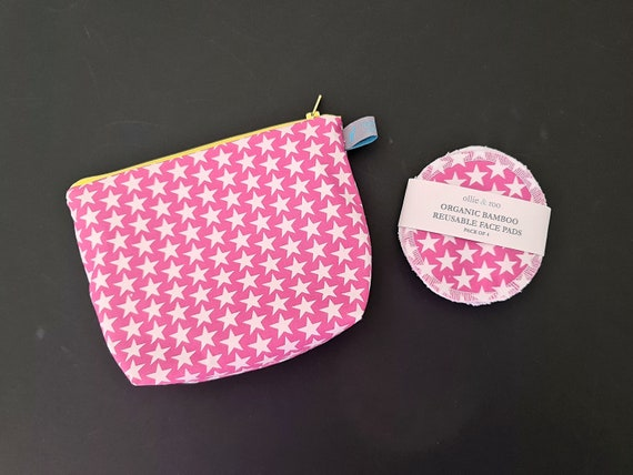 GIFT SET:  Pink Star Cosmetic bag + Pack of 4 reusable face wipes