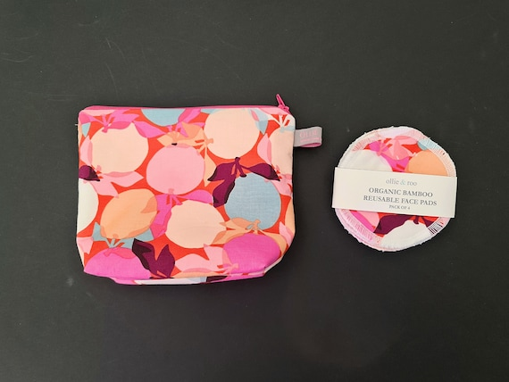 GIFT SET:  Pink Clementine Cosmetic bag + Pack of 4 reusable face wipes