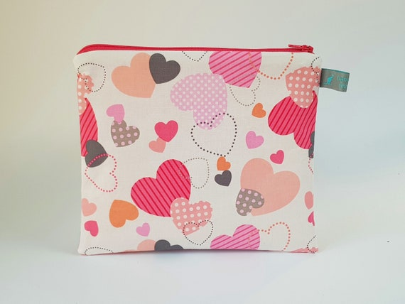 Hearts Pencil Case / Cosmetic Pouch