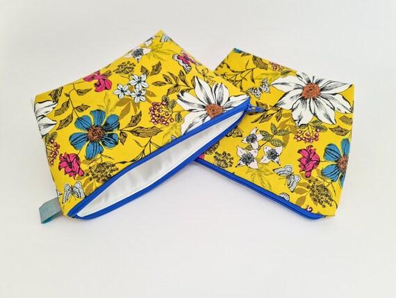 Floral Makeup Bag, waterproof lined