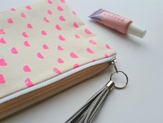 Pink Neon Moons Clutch Bag / Cosmetic Bag