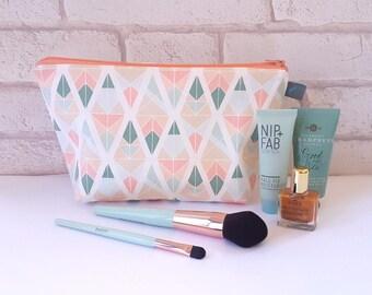 Pastel Geometric Makeup Bag / Cosmetic Bag
