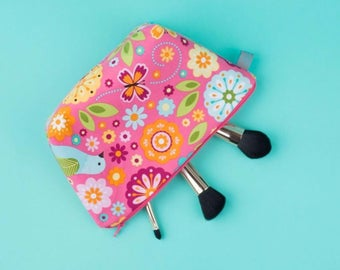 Girls Makeup / Wash Bag with bright florals, birds and butterflies