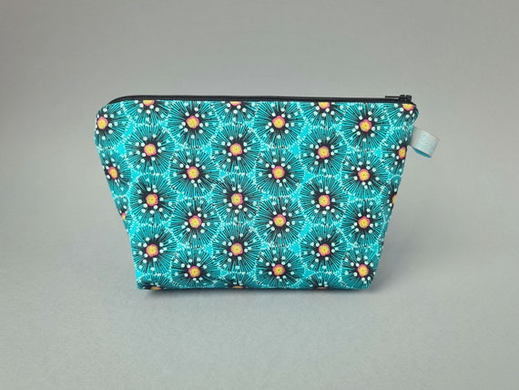 Aqua Floral Burst Sized Cosmetic Bag