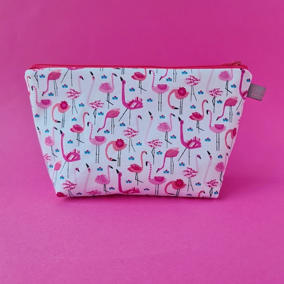 Flamingo Cosmetic Bag with waterproof lining