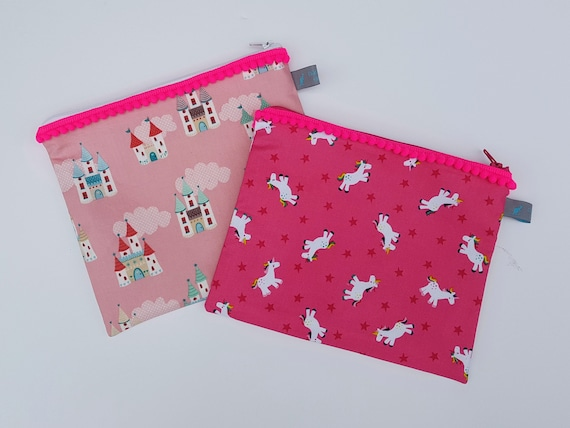 Princess Castle Pencil Cases with pom pom trim