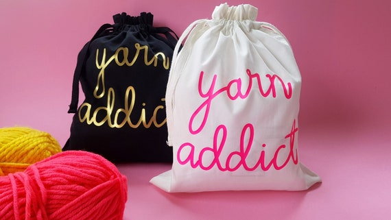 Yarn Addict Organic Cotton Drawstring Project Bag