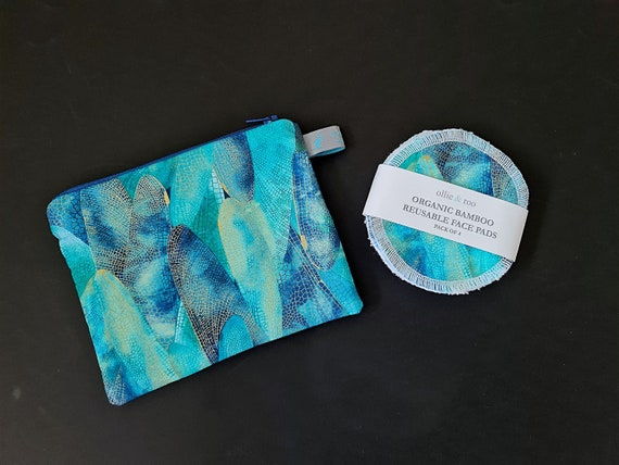 GIFT SET: Dragonfly Wing Cosmetic Pouch and 4 Face Wipes