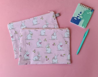 Hearts & Flowers Pencil Case / Cosmetic Pouch with cotton lining