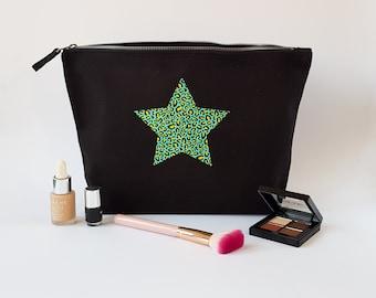Heart / Star Animal Print Cosmetic Bag