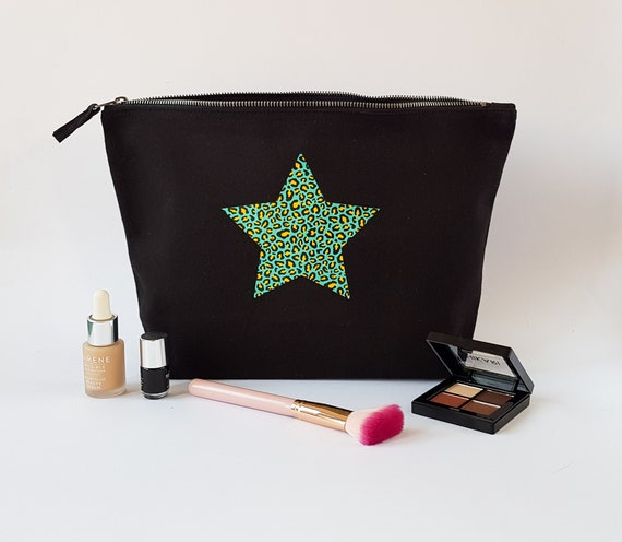 Heart / Star Animal Print Cosmetic Bag