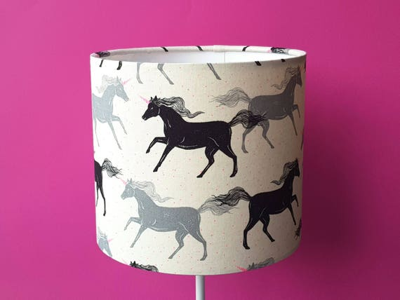 Unicorn Drum Lampshade 20cm diameter Bedside Lamp