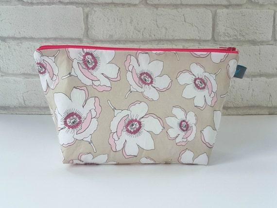 Makeup bag, cosmetic bag,toiletry bag in magnolia flower design, waterproof lining