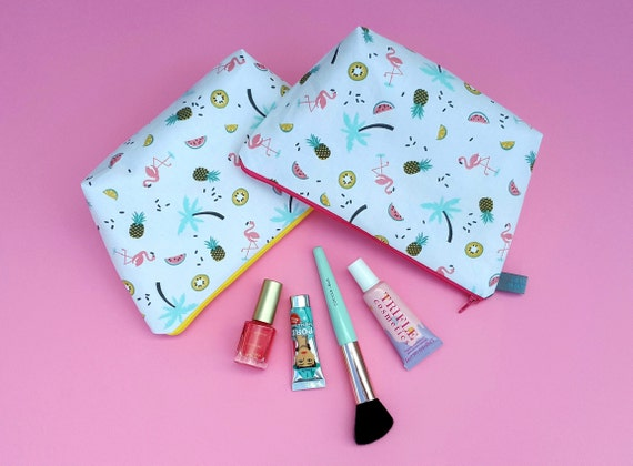 Tropical Makeup Bag with flamingo, palm tree, pineapple, watermelon, kiwi fruit