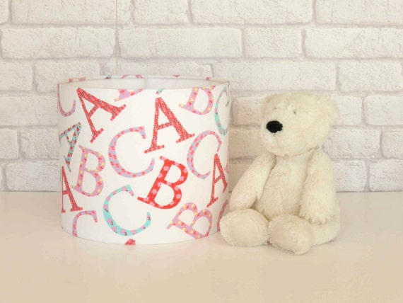 Alphabet 'ABC' Nursery lampshade in pink, red & aqua tones - 25cm diameter