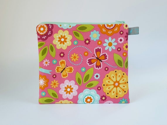 Floral pencil case with cotton lining