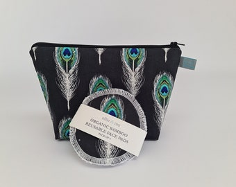 GIFT SET:  Black Feather Cosmetic bag + Pack of 4 reusable face wipes