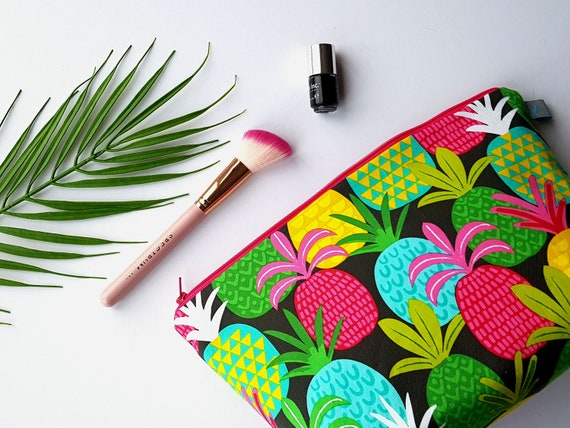 Bold Pineapple Large Cosmetic Bag with waterproof lining