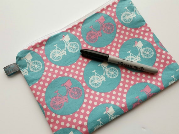 Girls Bicycle Pencil Case / Cosmetic Pouch with cotton lining
