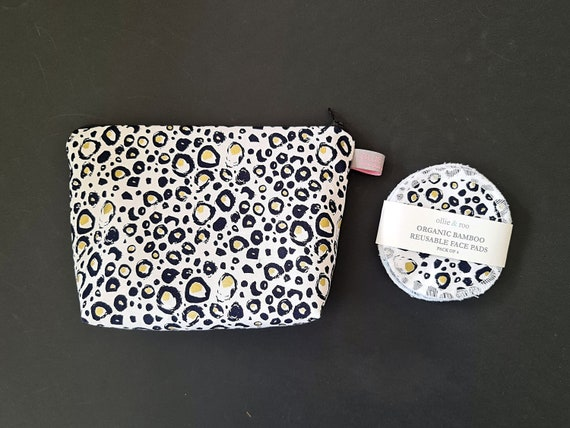 GIFT SET:  Metallic Animal Print Cosmetic bag + Pack of 4 reusable face wipes