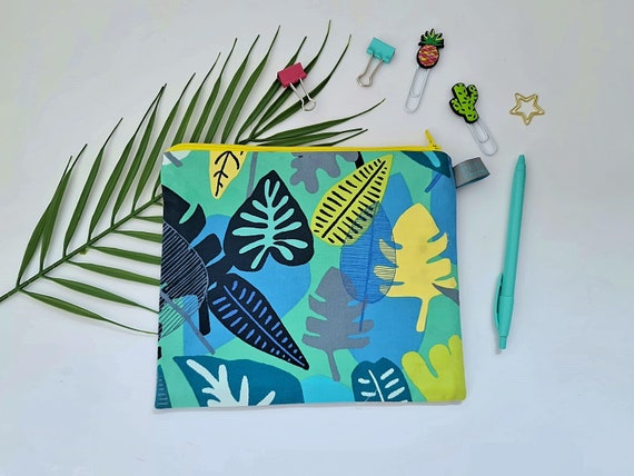 Tropical Leaf Pencil Case / Cosmetic Pouch
