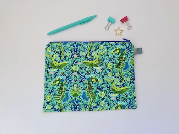 Seahorse and Whale Pencil Case / Cosmetic Pouch