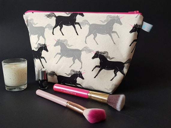 Unicorn/Horse Large Cosmetic Bag with waterproof lining
